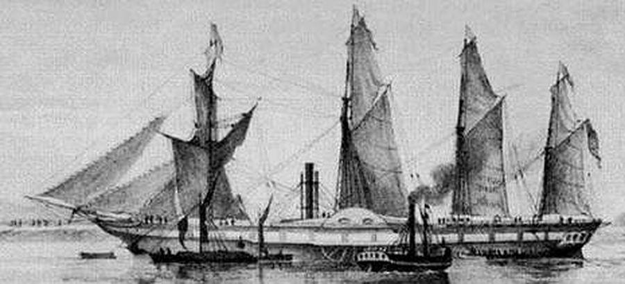 barco de epoca que navegaba a vapor y a vela