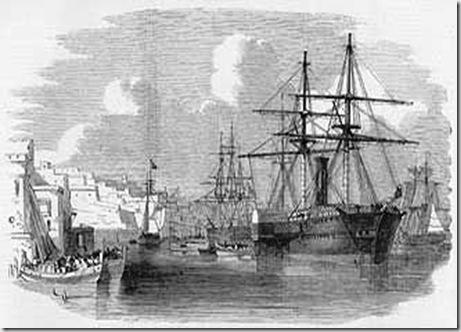 El Tunstall y el Solway con dos de los buques ingleses que naufragaron en Baldaio
